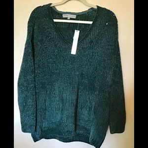 Absolutely Famous, dark emerald green sweater